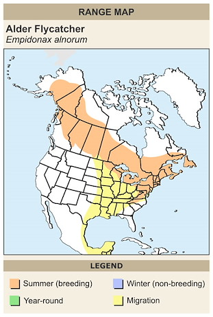 CERange Map for Alder Flycatcher