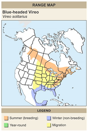 CERange Map for Blue-headed Vireo