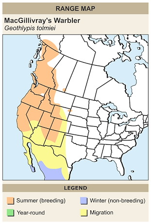 CERange Map for MacGillivray's Warbler