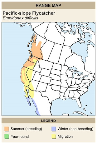 CERange Map for Pacific-slope Flycatcher