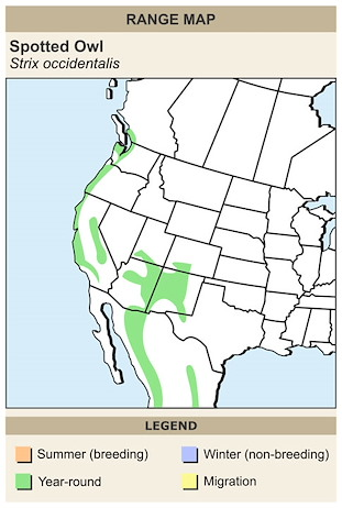CERange Map for Spotted Owl