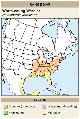 CERange Map for Worm-eating Warbler