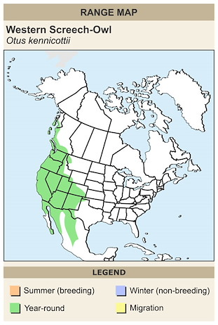 CERange Map for Western Screech-Owl