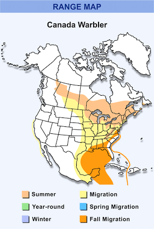 Range Map for Canada Warbler HD
