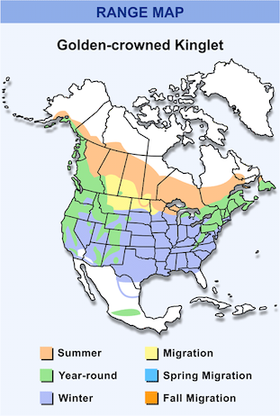 Range Map for Golden-crowned Kinglet HD