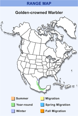 Range Map for Golden-crowned Warbler HD
