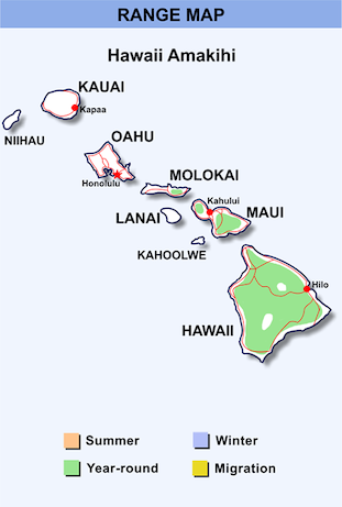 Range Map for Hawaii Amakihi HD