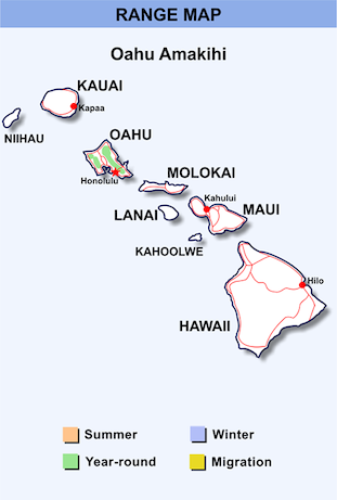 Range Map for Oahu Amakihi HD