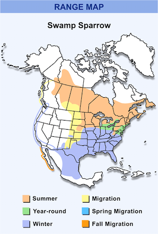 Range Map for Swamp Sparrow HD