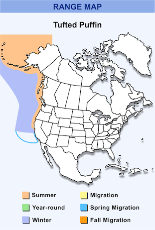 Range Map for Tufted Puffin HD