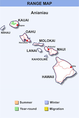 Range Map Hawaii for Anianiau