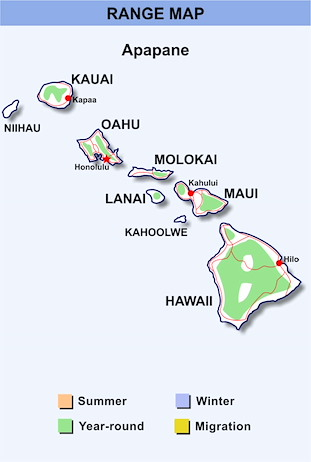 Range Map Hawaii for Apapane