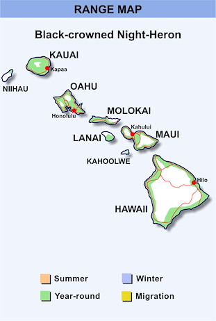 Range Map Hawaii for Black-crowned Night-Heron