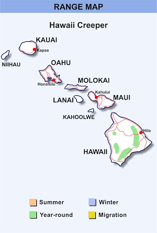 Range Map Hawaii for Hawaii Creeper