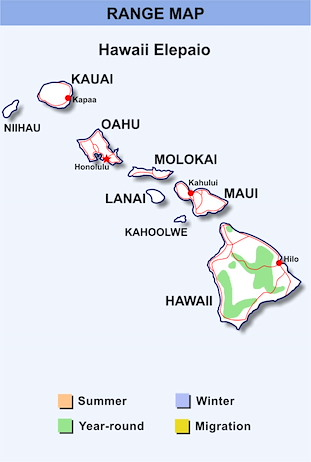 Range Map Hawaii for Hawaii Elepaio