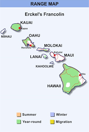 Range Map Hawaii for Erckel's Francolin