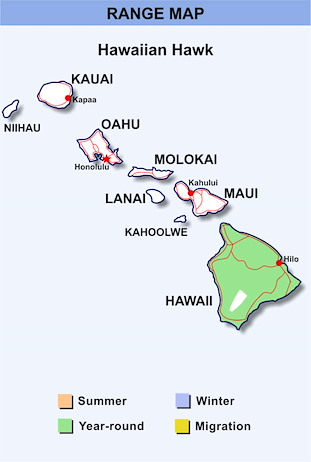 Range Map Hawaii for Hawaiian Hawk