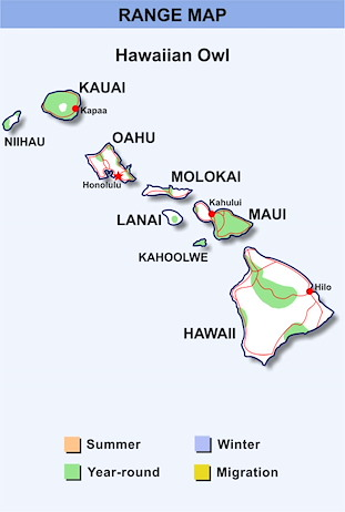 Range Map Hawaii for Hawaiian Owl