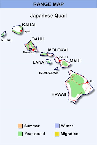 Range Map Hawaii for Japanese Quail