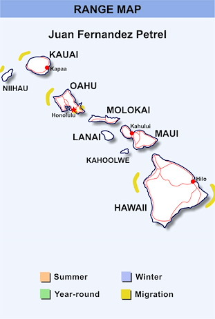 Range Map Hawaii for Juan Fernandez Petrel
