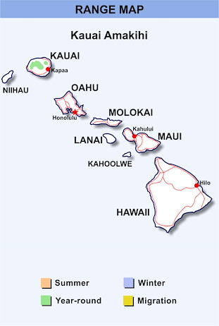 Range Map Hawaii for Kauai Amakihi