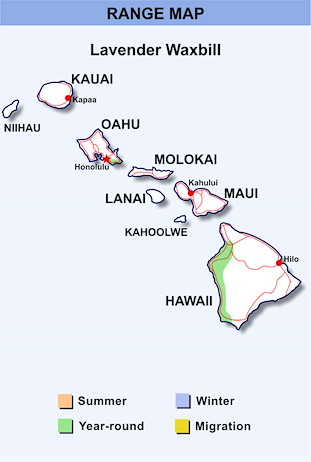 Range Map Hawaii for Lavender Waxbill