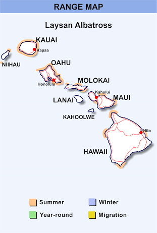 Range Map Hawaii for Laysan Albatross