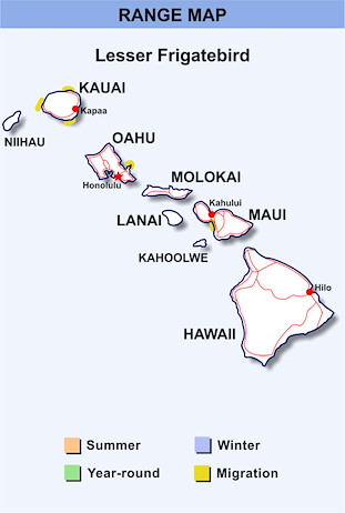 Range Map Hawaii for Lesser Frigatebird