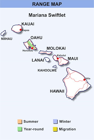 Range Map Hawaii for Mariana Swiftlet