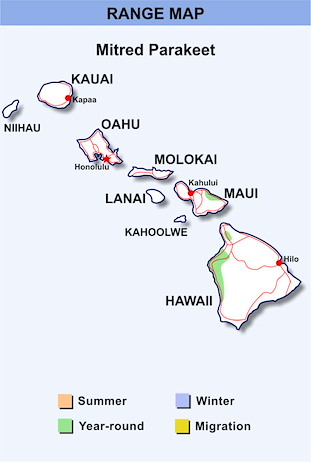 Range Map Hawaii for Mitred Parakeet