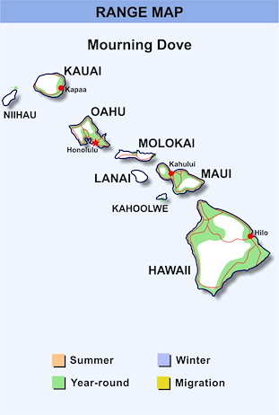 Range Map Hawaii for Mourning Dove