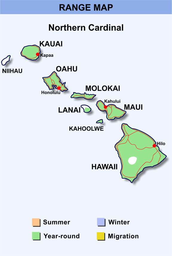 range map hawaii for northern cardinal