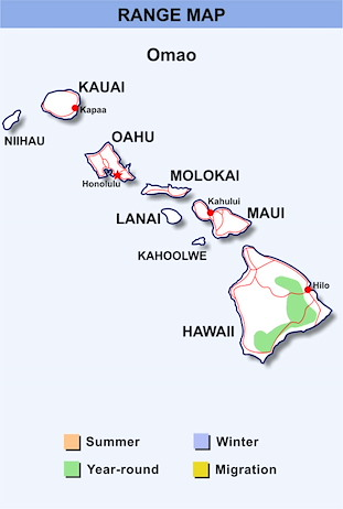 Range Map Hawaii for Omao