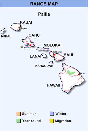 Range Map Hawaii for Palila