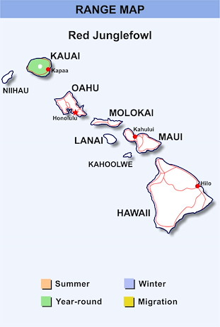 Range Map Hawaii for Red Junglefowl