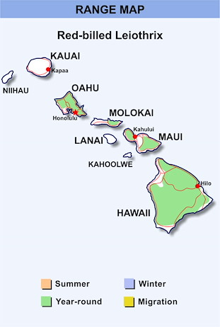 Range Map Hawaii for Red-billed Leiothrix