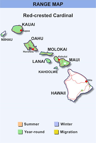 Range Map Hawaii for Red-crested Cardinal