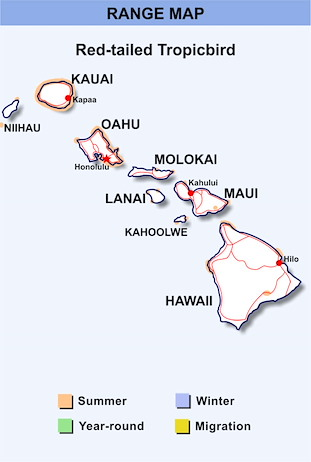 Range Map Hawaii for Red-tailed Tropicbird