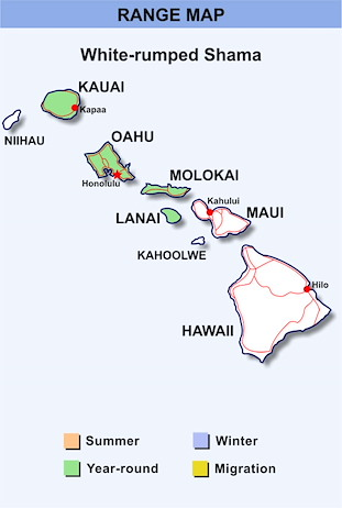 Range Map Hawaii for White-rumped Shama