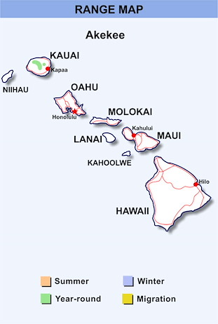 Range Map Hawaii for Akekee