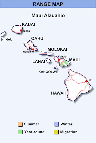 Range Map Hawaii for Maui Alauahio