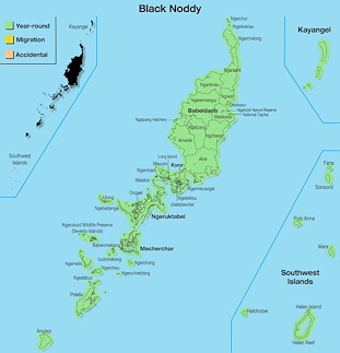 Range Map Palau for Black Noddy