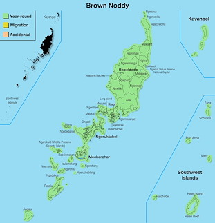 Range Map Palau for Brown Noddy