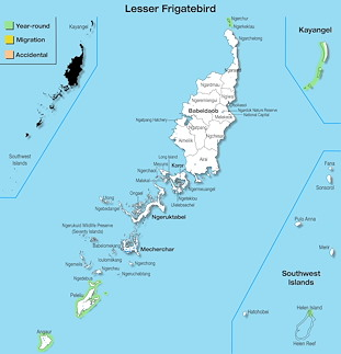 Range Map Palau for Lesser Frigatebird