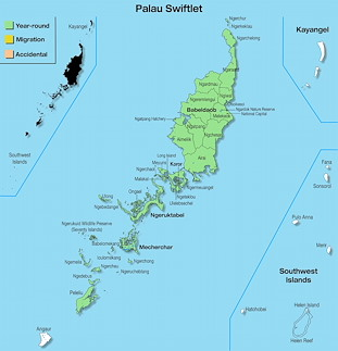 Range Map Palau for Palau Swiftlet